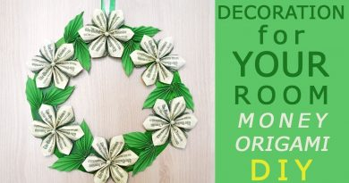 DECORATION for YOUR ROOM idea | DIY How I make a Money WREATH | Flowers with leaves |Dollar Tutorial 4