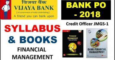 Vijaya Bank Direct Recruitment PO  (Credit Officer) || Financial Management Syllabus & Book 2
