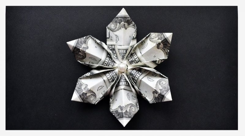 Money SNOWFLAKE/FLOWER | Christmas Decoration Idea | Origami Dollar Tutorial DIY 1