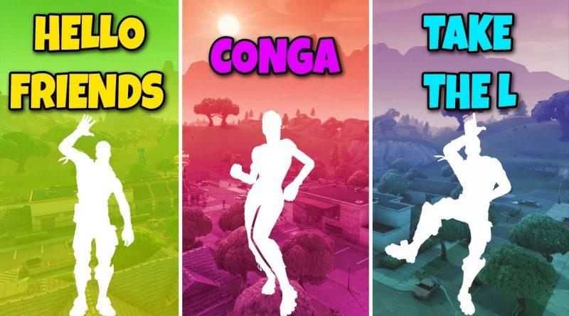 HELLO FRIENDS EMOTE vs CONGA EMOTE vs TAKE THE L EMOTE - Fortnite Battle Royale (Dances Compilation) 1