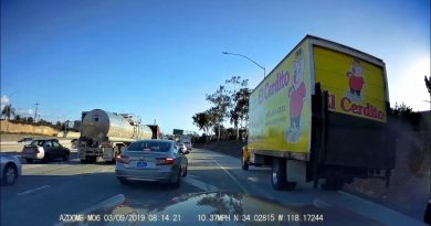 box truck tries to cheat traffic, pulled over by karma cop 2
