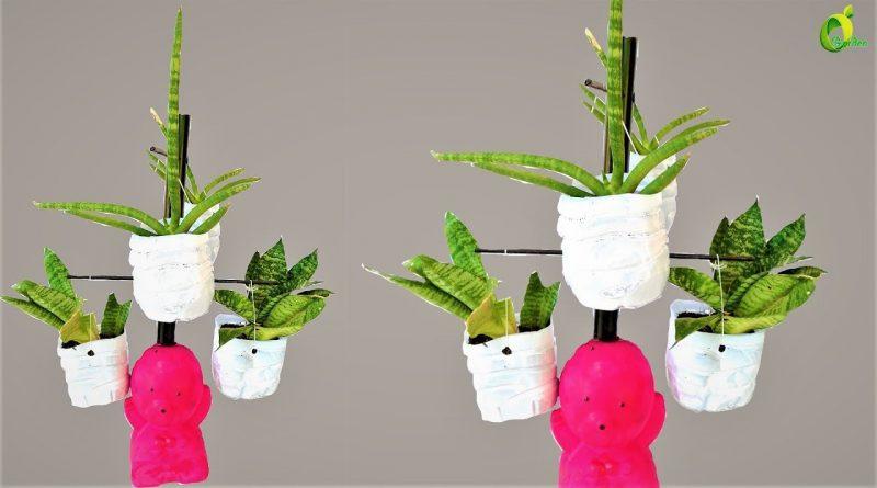 planter stand  ideas/snake plant decoration/plastic bottle idea//ORGANIC GARDEN 1