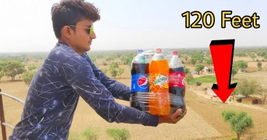 Dropping 5 Cold Drinks From 120 Feet Height || 5 Cold Drinks vs Water Tank || Experiment King 3