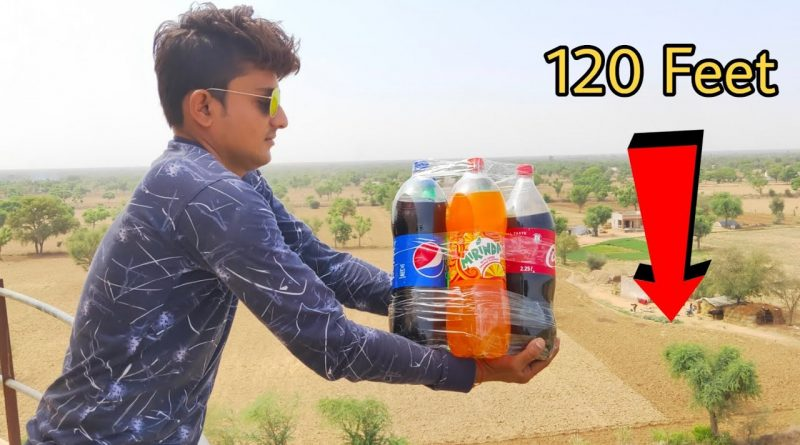 Dropping 5 Cold Drinks From 120 Feet Height || 5 Cold Drinks vs Water Tank || Experiment King 1