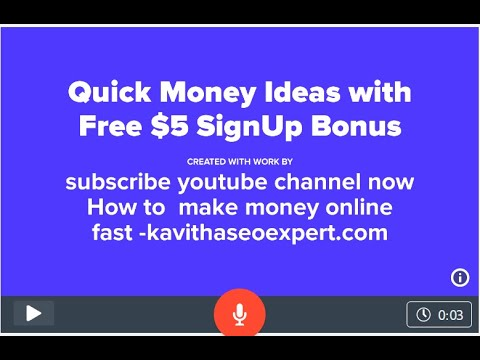 Quick Money making Ideas with Free $5 Bonus|How to make money online Fast|kavithaseoexpert.com 1
