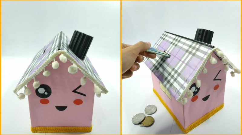 How To Make cute House Saving Money From Cardboard || Creative Idea From Cardboard 1