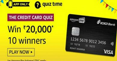 Amazon The Credit Card Quiz Answers Today | Win 20,000 Amazon Pay Balance | 13 February 2020 4